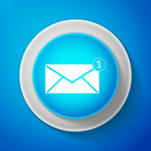 White Envelope icon isolated on blue background. Received message concept. New, email incoming message, sms. Mail delivery service. Circle blue button with white line. Vector Illustration
